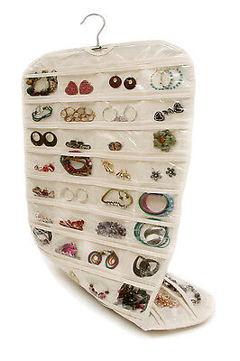 Beige Double Side 80 Pockets Jewelry and Accessories Hanging Organizer Display