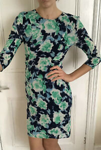Lovely-Whistles-Fitted-Aqua-Green-Navy-Dress-Uk-8-Silk-Elastic-Long-Back-Zip