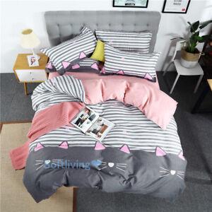 Queen-Size-Bed-Quilt-Duvet-Doona-Cover-Set-Linen-Cat-Striped-Pink-Grey-Bedding