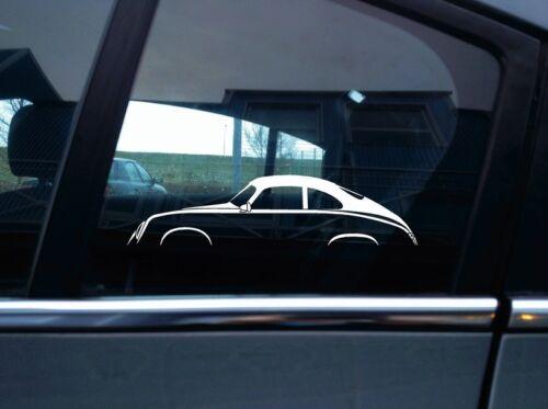 for Porsche 356 Pre-A Coupevintage 2x classic car silhouette stickers
