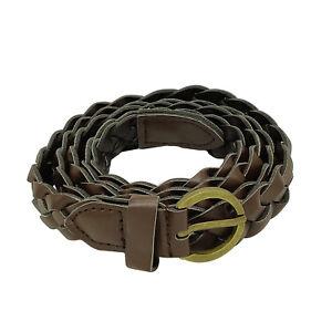 c4885bca9d631 Image is loading Ladies-Weaved-Belt-Thin-Skinny-Brown-Braided-Waistband-