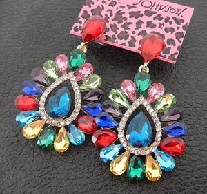 Women-039-s-Multi-Color-Glass-Crystal-Flower-Teardrop-Betsey-Johnson-Drop-Earrings