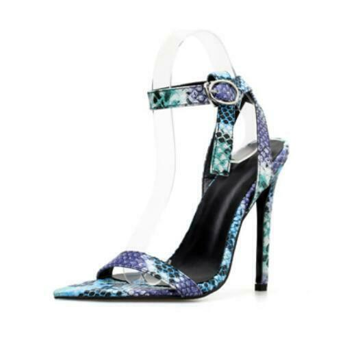 Women's Snakeskin Stiletto High Heel Pu Leather Sandals Sexy Open Toe Shoes G94