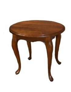 Queen Ann Sidetable.Details About Vintage Solid Cherry Queen Anne Style Oval Side Table
