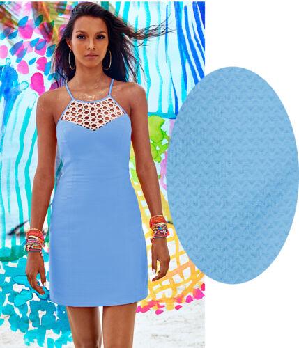 $198 Lilly Pulitzer Larina Seaspray Blue Gold Lace Yoke Shift Dress