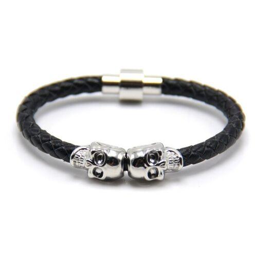 Leather Magnetic Skull Bracelet Top Quality Jewellery For Men