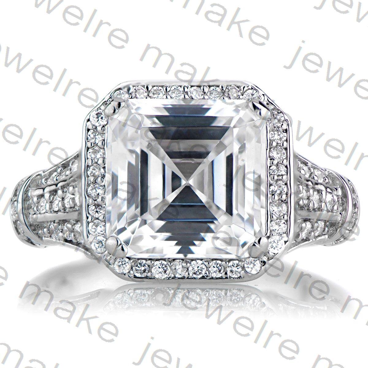 Certified 3.93Ct Asscher Cut Diamond 14K White gold Engagement & Wedding Ring