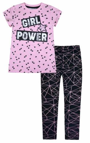 Girls T-shirt and Leggings Set Summer 2 Piece Set Pink Black Age 2 3 4 5 6 7 8 Y