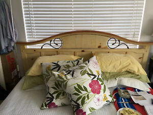 King Size Solid Light Wood Headboard And Footboard And