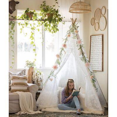 Weß Mädchen Tipi für Kinder Zelt Tente Hochzeit Garten Dekor Indianer Teepee