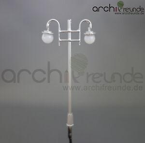 2 x LED vieille ville LANTERNE ARGENT 2-Brûleur 6cm 1:87/1:100 maquettes piste h0/tt  </span>