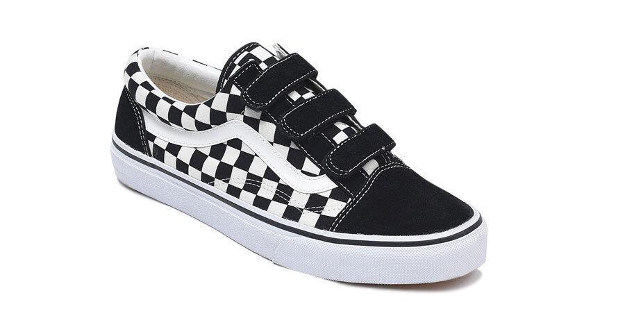 VANS Old Skool Velcro EZ Suede Checkerboard noir & blanc
