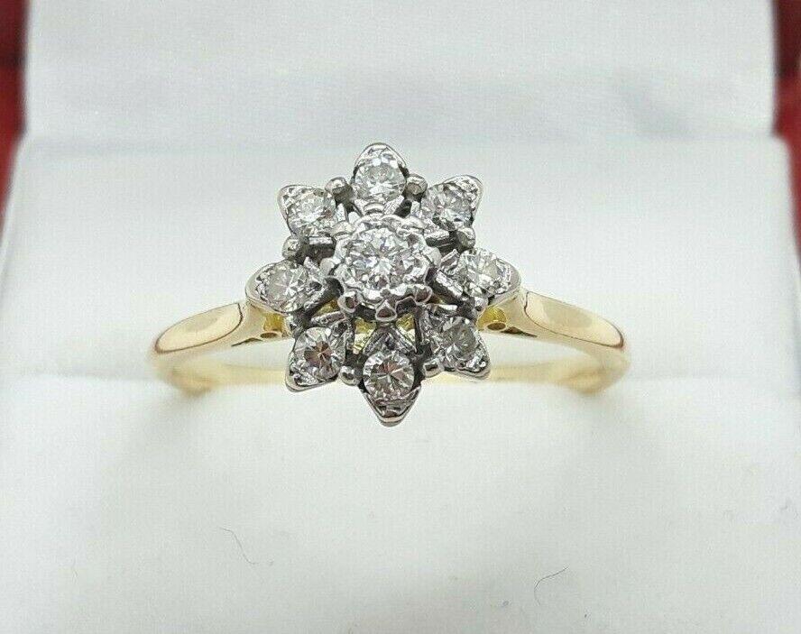 VINTAGE 18ct oro oro oro Giallo 0.30ct Diamante Daisy Cluster Anello H I grado SI1 fd447a