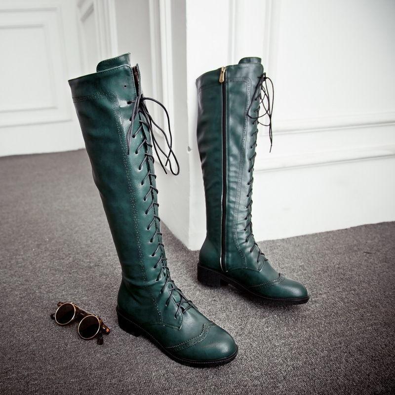 Retro Damenschuhe Budapester Schnürschuh Stiefel Party Kniehochstiefel