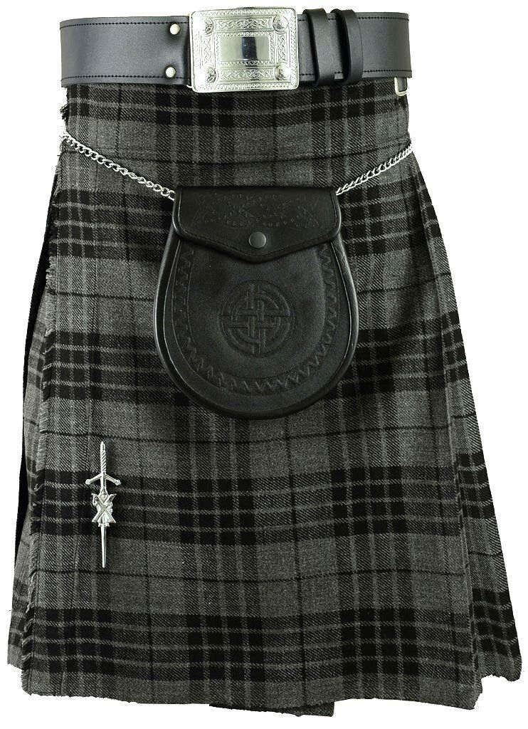 Grey Scottish Mens Kilt Tartan Kilts Traditional Highland dress