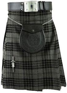 0768cebd8 La imagen se está cargando Gris-Hombres-Escoces-Falda-Escocesa -Tartan-Tradicional-Highland-