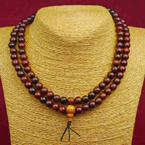 Halskette Mala Rosenholz Kugeln Buddhismus Nepal Meditation Handarbeit 110c
