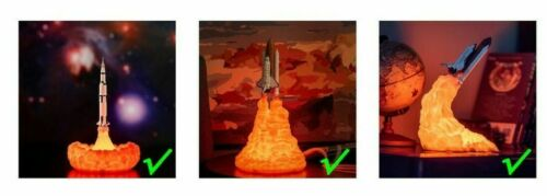 3D Print Space Rocket Lamps Rechargeable Apollo 5 Lover Room Decors Night Lights