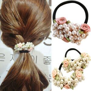 Women-Fashion-Rhinestone-Crystal-Pearl-Hair-Band-Rope-Elastic-Ponytail-Holder