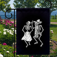 Dancing Skeletons Black Small Garden Yard Flag Home Decor Day Of The Dead
