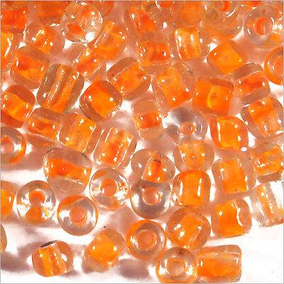 6//0 Perles de Rocailles en verre Transparent 4mm Centre Rose 20g