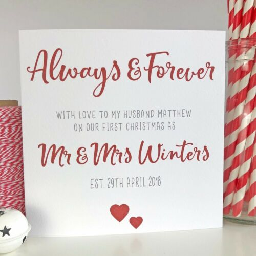Personalised 1st First Christmas Card Husband Wife Married Mr Mrs Newly Weds