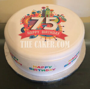 Image Is Loading Personalised 75th Birthday Pre Cut Edible Icing Cake