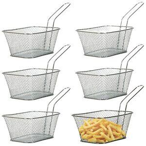6-X-Mini-Cromado-Freidora-Patatas-Fritas-Snack-servir-alimentos-PAPAS-FRITAS-CESTA-restaurante