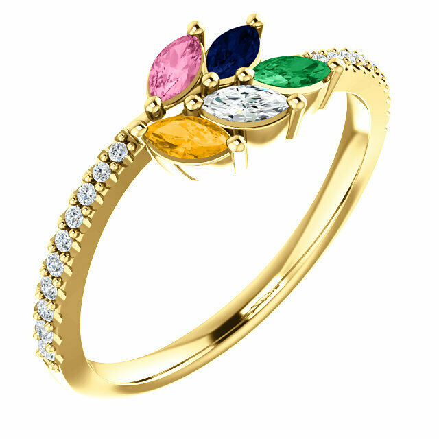 Marquise Stones 10K or 14K Solid gold Family Ring 1 to 5 Birthstones