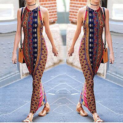Women Sexy Summer Dress Long Boho Evening Party Beach Dress Sundress Maxi