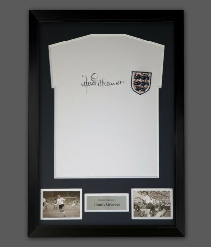Jimmy Greaves Hand Signed England  Football Shirt In A Framed Presentation