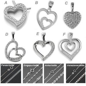 458f6e0d7478 Das Bild wird geladen Herz-Anhaenger-Kette-ECHT-925-Silber-Hals-Herzkette-