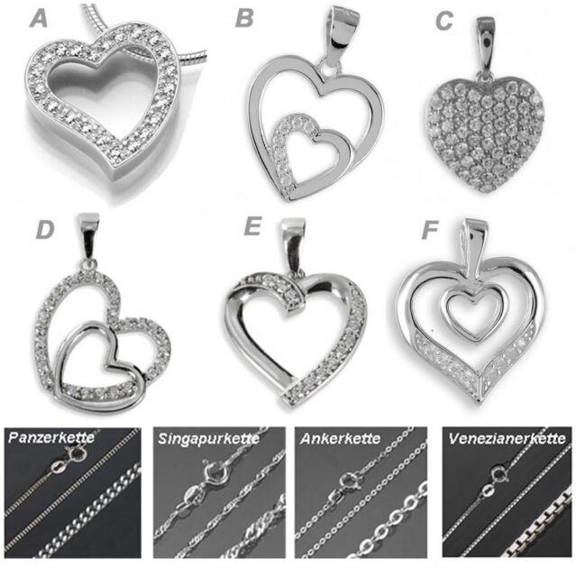 Herzkette ❤️ 925 Silber 925 Halskette Damen Herz Kette Valentinstag Geschenk 💎