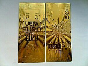 UEFA-2020-EURO-039-S-Chapado-en-Oro-500-Euro-Souvinir-Banknote-039-s