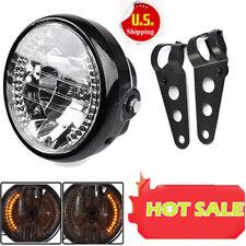 7 Motorcycle Bike Headlight Led Turn Signal Light Black Bracket Mount Us Sale