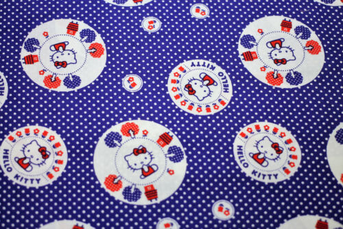 Fabric Hello Kitty Blue White Circles Fat Quarter Cotton Quilting kids Material