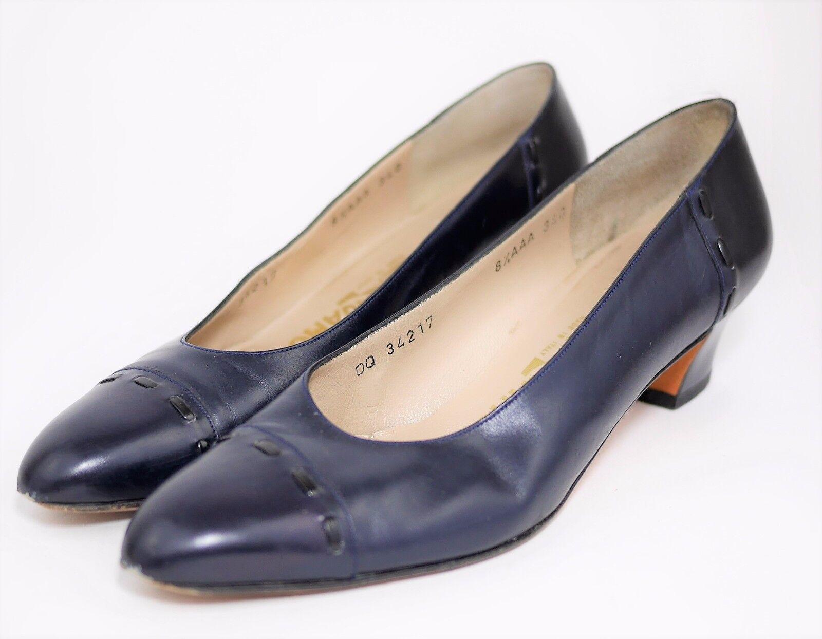 SALVATORE FERRAGAMO Navy bluee Leather Classic Pumps High Heels - WOMEN'S 8.5
