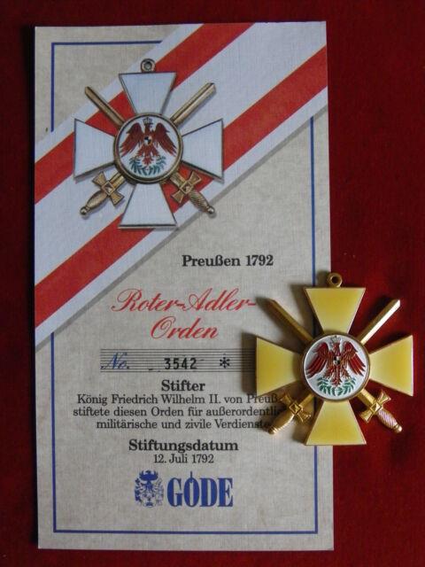 Göde Orden Preußen 1792 - Roter Adler Orden + Zertifikat Nr.3542