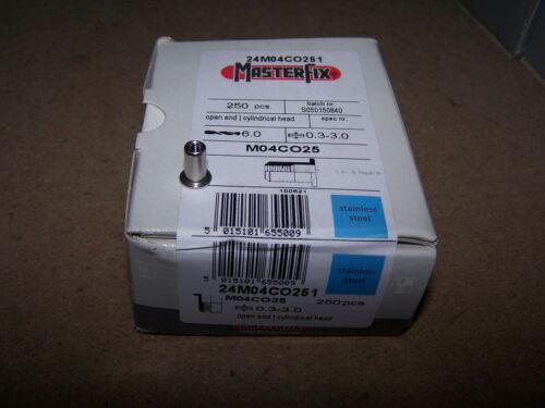 250 Edelstahl A2 V2A Blindnietmuttern M4 Flachkopf offen klemmt 0,3-3,0mm #PL001