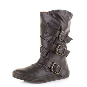 Size Calf Brown Saddle Blowfish Buckle Flat Old Olin Wide Womens Boots Uk Ladies qgT7x1