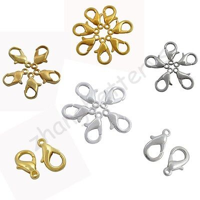 High Quality Gold & Silver Plated Alloy Lobster Clasps Hooks Charms 12 16 20 mm