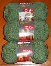 Bernat Softee Chunky Yarn Lot Of 3 Skeins (Forest #28243)