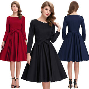 Retro-Vintage-Long-Sleeve-Crew-Neck-High-Stretchy-Party-Picnic-Solid-Color-Dress