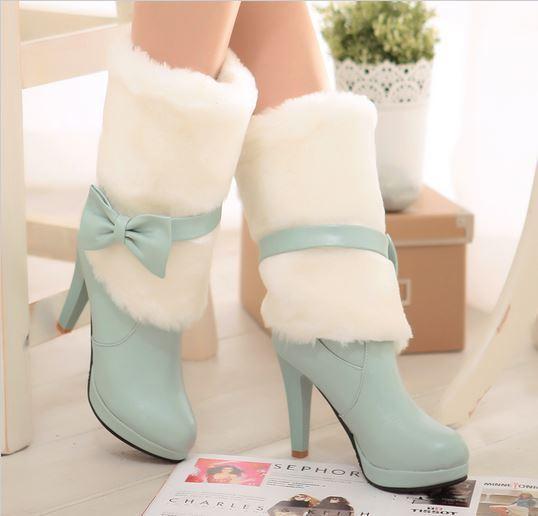 Botines botas zapatos de mujer talón 10 cm azul caldi cómodo como piel 077
