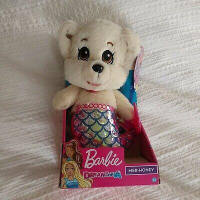 "Barbie Dreamtopia Mer-Honey Puppy Mermaid Glitter Moving Tail So Soft Plush 10/"""
