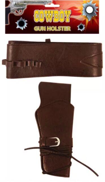 Brown Cowboy Gun Holster Belt Wild West Fancy Dress Accessory