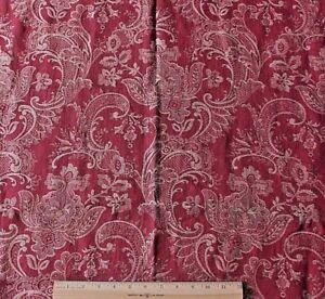 Antique-French-19thC-Jacquard-Ethnic-Cotton-Maroon-Home-Dec-Fabric-c1880