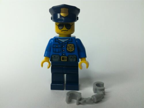 Lego City Figures Police officer high speed police chase cop sunglasses Ref:Fig2
