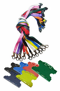 Neck-Strap-Lanyard-Safety-Breakaway-amp-Double-Sided-ID-Card-Holder-lot