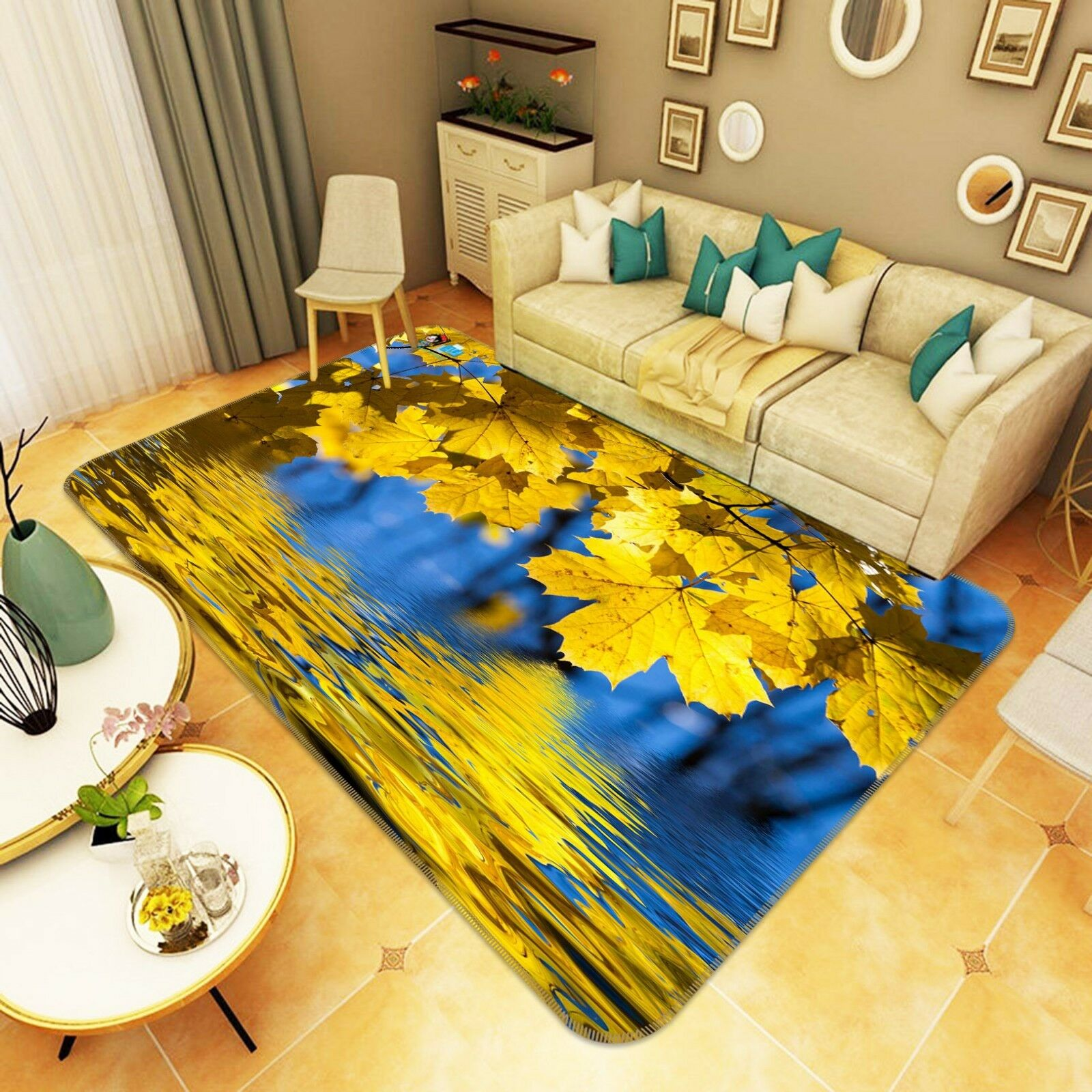 3D Tree Plant Leaf 020 Non Slip Rug Mat Quality Elegant Photo Carpet US Cobb